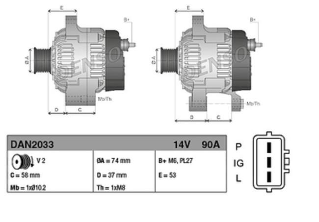 [DIAGRAM_34OR]  ALTERNATOR Denso DAN2033 and its equivalents OEM/COPY | Denso Alternator Wiring Diagram 1052814 |  | DTS Belgium